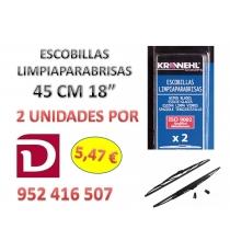 ESCOBILLAS 100% GOMA NATURAL  45 CMS. 2 UNIDADES