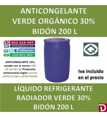 ANTICONGELANTE VERDE ORGANICO 30% 200 L