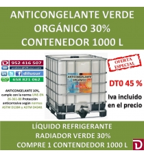 ANTICONGELANTE VERDE ORGANICO 30% 1000 L
