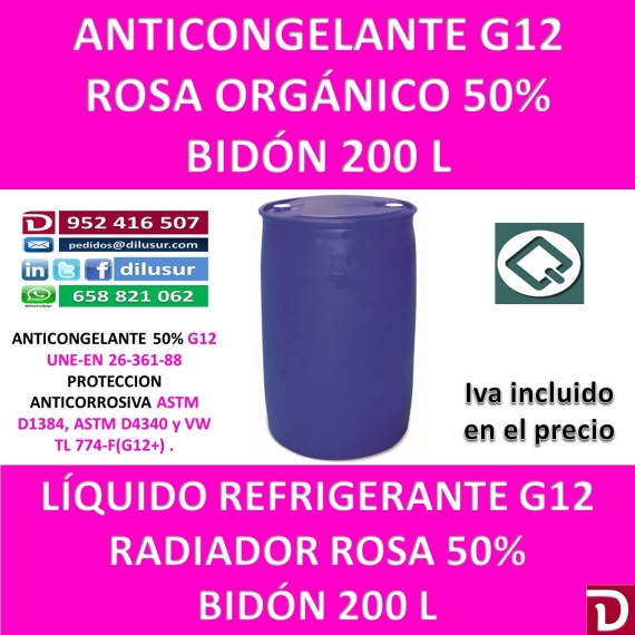 ANTICONGELANTE ROSA ORGÁNICO G12 50% 200 L