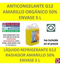ANTICONGELANTE AMARILLO ORGÁNICO G12 50% 5 L