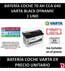 BATERIA COCHE VARTA 70 AH E9