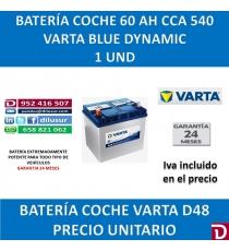 BATERIA COCHE VARTA 60 AH D48