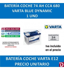 BATERIA COCHE VARTA 74 AH E12