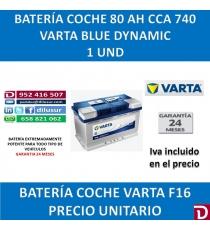 BATERIA COCHE VARTA 80 AH F16