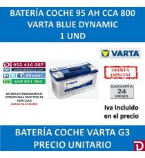 BATERIA COCHE VARTA 95 AH G3
