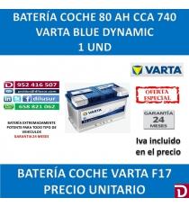 BATERIA COCHE VARTA 80 AH F17