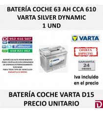 BATERIA COCHE VARTA 63 AH D15