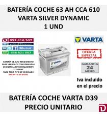 BATERIA COCHE VARTA 63 AH D39