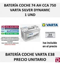 BATERIA COCHE VARTA  74 AH E38