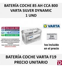 BATERIA COCHE VARTA 85 AH F19