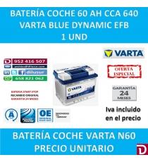 BATERIA COCHE VARTA 60 AH N60