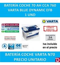 BATERIA COCHE VARTA 70 AH N70