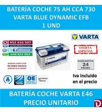 BATERIA COCHE VARTA 75 AH E46