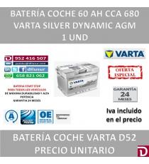 BATERIA COCHE VARTA 60 AH D52