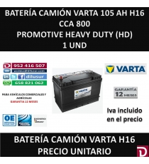 BATERIA CAMION VARTA 105 AH H16