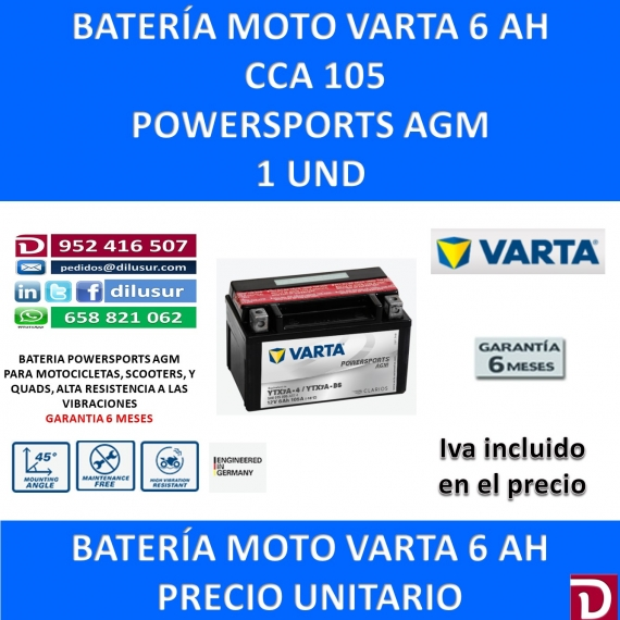 BATERIA MOTO 6 AH YTX7A-BS YTX7A-4