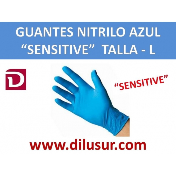 GUANTE NITRILO AZUL SENSITIVE  T-L 100 UNDS