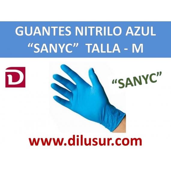 GUANTE NITRILO AZUL SANYC T-M 100 UND