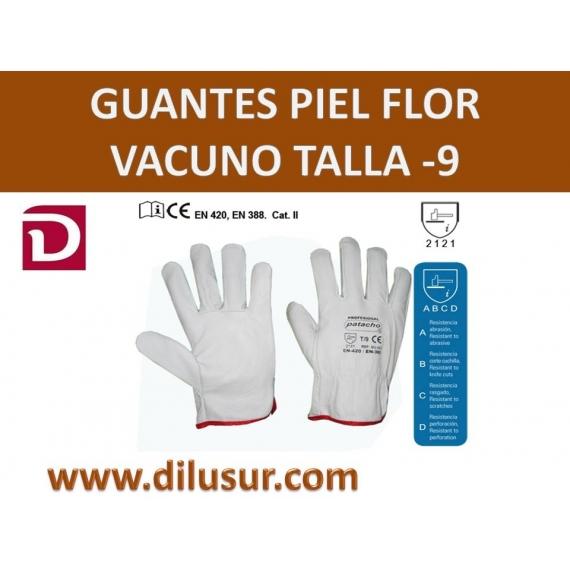 GUANTE PIEL TALLA- 9 FLOR VACUNO  REFORZADO
