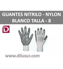 GUANTE NYLON BLANCO NITRILO GRIS T8