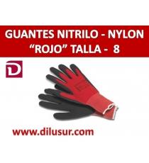 GUANTE NYLON ROJO NITRILO NEGRO T8