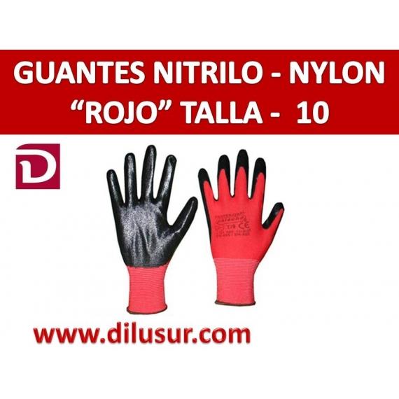 GUANTE NYLON ROJO NITRILO NEGRO T10