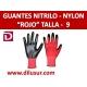 GUANTE NYLON ROJO  NITRILO NEGRO T9